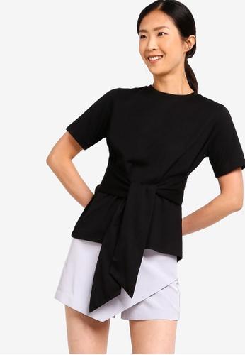 ZALORA BASICS black Basic Tie Front T-Shirt DEE2BAA39DDB6EGS_1