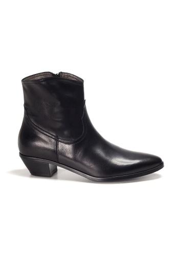 Shu Talk 黑色 XSA 意大利真皮優雅型格尖頭低跟短靴 51410SHE273E55GS_1