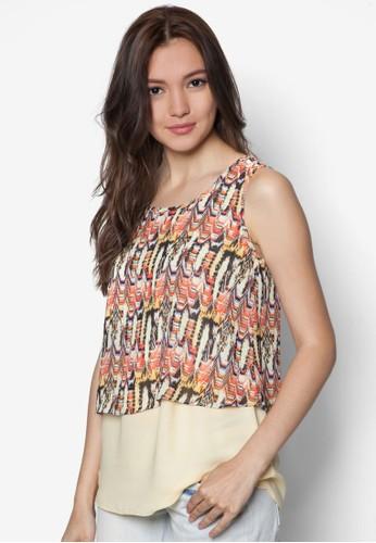 印花zalora時尚購物網的koumi koumi拼色無袖上衣, 服飾, 上衣