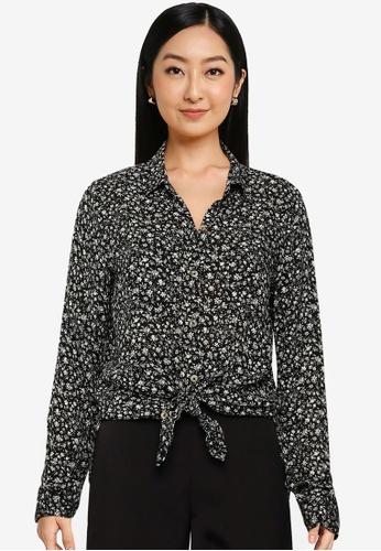 Hollister 黑色 Tie Front Fashion Blouse 696D8AA6836836GS_1