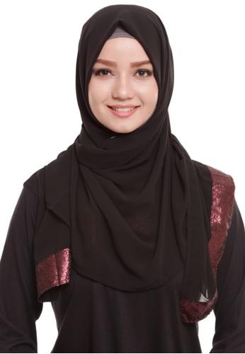 Mybamus Ethnic Glitter Edge Pashmina Black - Maroon