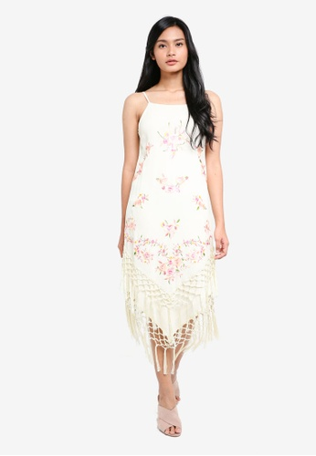 Miss Selfridge beige Embroidered Tassel Camisole Dress 1B4C8AA46D111BGS_1