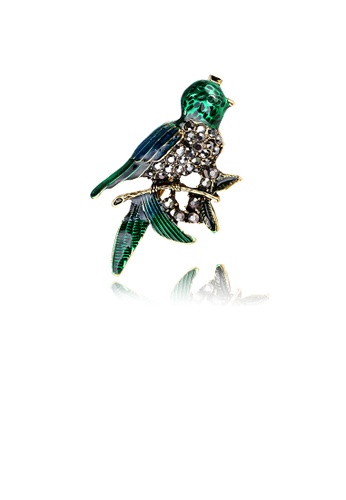 Glamorousky white Fashion and Lovely Plated Gold Enamel Green Bird Brooch with Cubic Zirconia E56D9ACDAC4C45GS_1