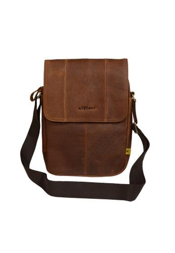 EXTREME brown Leather Sling Shoulder Bag 51BDDAC8AAFA57GS_1