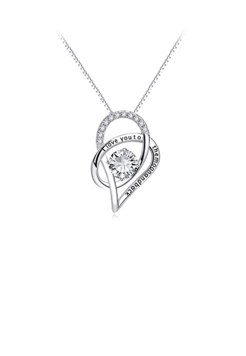 Glamorousky white 925 Sterling Silver Fashion Romantic Heart Pendant with Cubic Zirconia and Necklace 76869AC069E112GS_1
