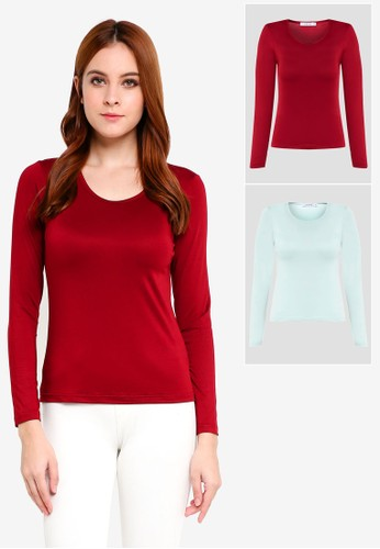 Lubna red and blue Basic Inner Top Scoop Neck 2 In 1 F5607AA1BA5FF7GS_1