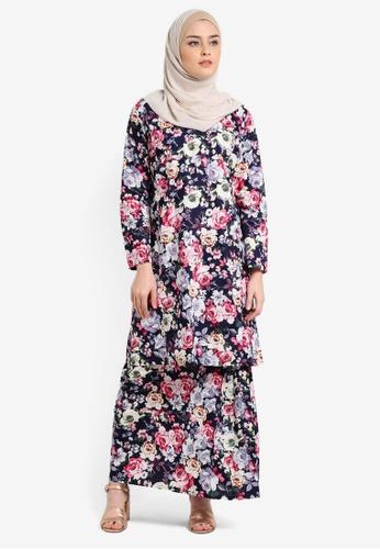 Azka Collection multi and navy English Cotton Baju Kurung AZ019AA0RTSQMY_1