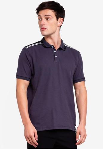 UniqTee grey Pique Polo Shirt With Striped Trims 4483DAACBBBAFCGS_1