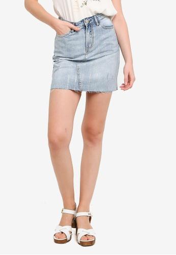 Hopeshow blue Washed Striped Denim Mini Skirt C80E8AA17BCA41GS_1