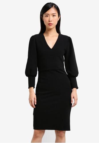 Mango black Puffed Sleeves Dress MA193AA0RXS4MY_1