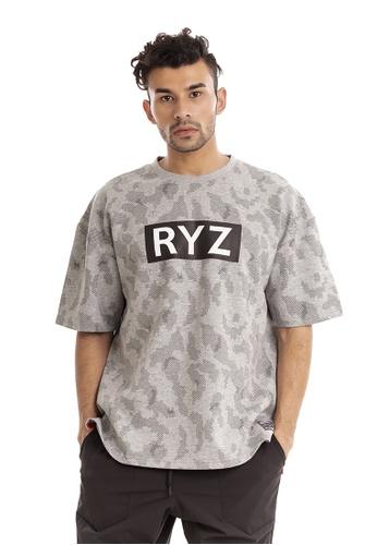 RYZ grey RYZ Script Logo Print Grey Short Sleeve Sweat T-Shirt. B687EAABF31349GS_1