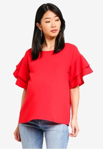 Spring Maternity 紅色 孕婦裝 荷葉飾上衣 377BCAA1735F96GS_1