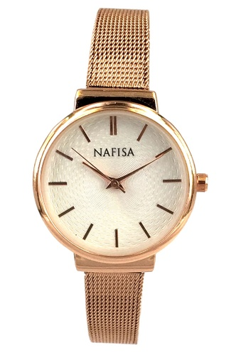 Chronomart gold Nafisa Women's Round Dial Rose Gold Color Stainless Steel Mesh Chain Strap Wrist Watch CH783AC46QYFPH_1