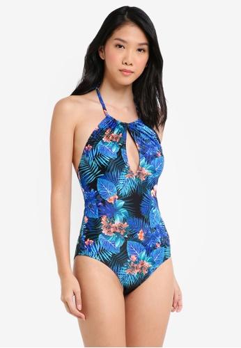 Dorothy Perkins blue Blue Tropical Print Swimsuit E13E4USAE267BDGS_1