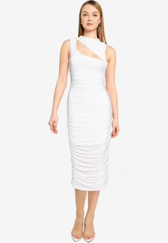 MISSGUIDED white High Neck Cut Out Slinky Midaxi Dress 3C53EAA505D962GS_1