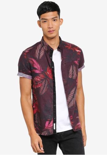 River Island red Short Sleeve Berry Linen Print Shirt 990EDAA9270BF7GS_1
