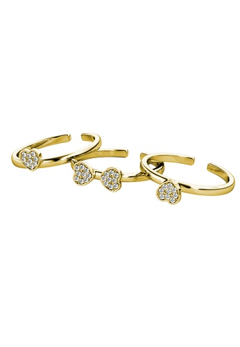 Her Jewellery gold Tri Clover Ring (Yellow Gold) - Made with Premium grade crystals from Austria D5625AC71ACED8GS_1