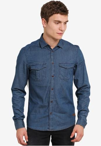 !Solid blue Kadein Double Breast Pocket Shirt SO701AA0S2UPMY_1