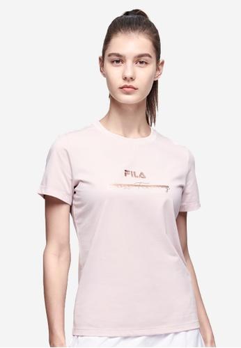 FILA pink Athletics Collection Embroidery FILA Logo Cross Training T-shirt E2C38AA3608E76GS_1