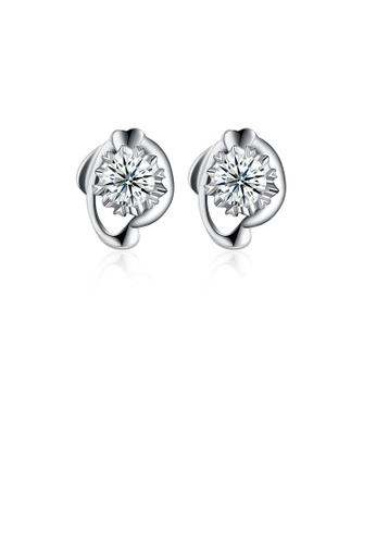 Glamorousky white 925 Sterling Silver Simple Elegant Exquisite Heart Shape Earrings and Ear Studs with Cubic Zircon 02B1DAC917E5C7GS_1