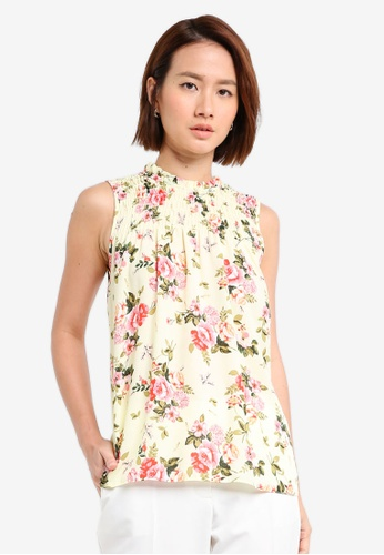 Dorothy Perkins yellow Lemon Floral Frill Neck Top DDAE2AA9ABA160GS_1