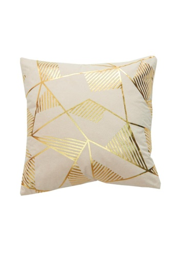 DILAS HOME pink Geometric Gold Print Cushion Cover (Dusty pink) 65857HL786C881GS_1