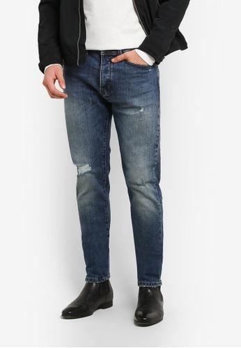 Burton Menswear London 藍色 藍色 Vintage Tint Carter Tapered 牛仔褲 BU964AA0RZGGMY_1