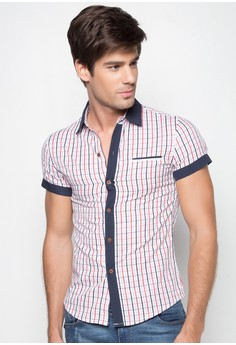 Justin Short Sleeve With Color Block Placket