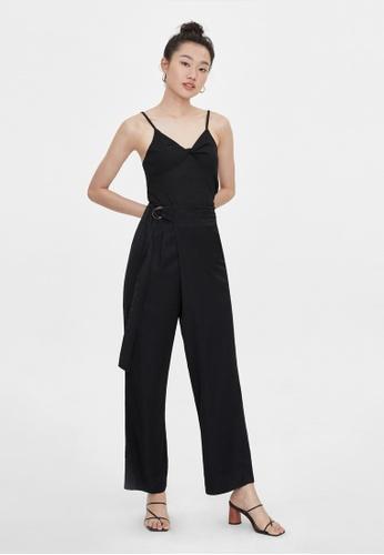 Pomelo black Wrap Buckle Belted Wide Leg Pants - Black FA0A2AA178F33EGS_1