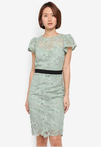 Paper Dolls green Crochet Lace Fluted Sleeve Contrast Waist Dress F9C2EAA11CDFFDGS_1