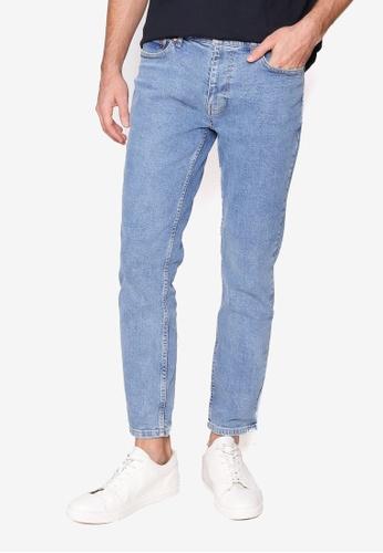 Burton Menswear London blue Grey Vintage Tapered Jeans 0110FAAFC161F6GS_1