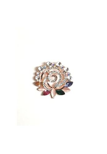 Loveaisyah multi Brooch Multi crystal faux diamond Moonstone Flower 1F69EAC8346D8CGS_1