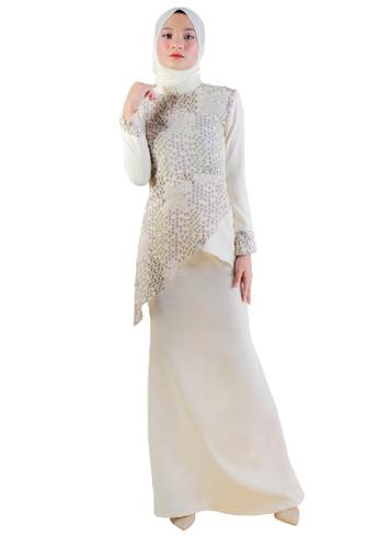 SARIMA beige Kurung Modern Muslimah Fashion Beige Cream White 35C54AAE82697DGS_1