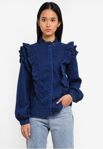 ONLY blue ONLY ONE Frill Denim Shirt B6735AA65CB948GS_1