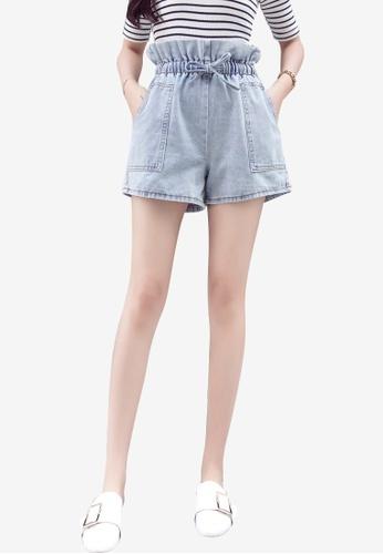 Lara blue Women Elastic Waist Side Pockets Denim Shorts BC8BFAAA3A006FGS_1