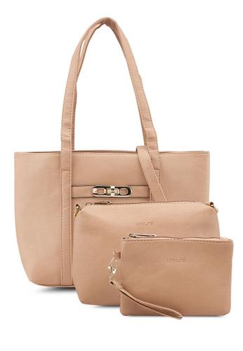 Unisa beige Pebbled Tote Bag Set Of 3 1BFDEAC568E9A3GS_1