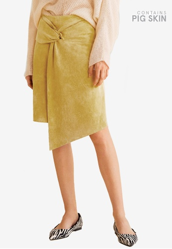 MANGO yellow Knot Fur Skirt 86D55AA7A7C0AAGS_1