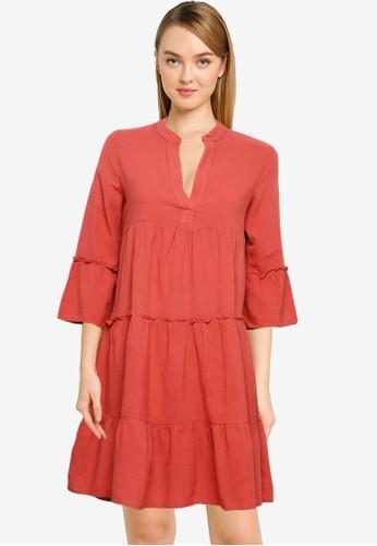 Vero Moda orange Heli 3/4 Short Dress 3CBB7AA90189D8GS_1
