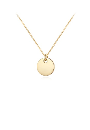 Glamorousky silver 925 Sterling Silver Plated Gold Simple Fashion Geometric Round Pendant with Necklace 10222AC5C1E37AGS_1