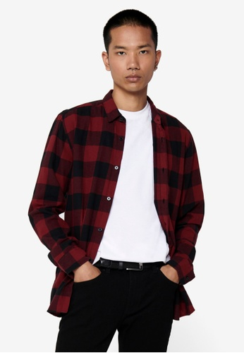 Only & Sons red Gudmund Checked Long Sleeve Shirt 0E3C3AAD09670FGS_1