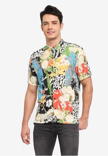 Topman multi Wild Floral Print Shirt D2FBBAAACD9337GS_1