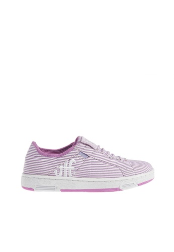 Royal Elastics white and purple Icon Washed Cotton Sneakers RO796SH2UYLDHK_1