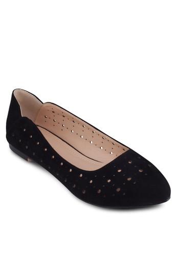 沖孔尖頭娃娃鞋zalora 台灣門市, 女鞋, 芭蕾平底鞋