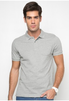 Short Sleeves Collared Pique With Pocket Shirt