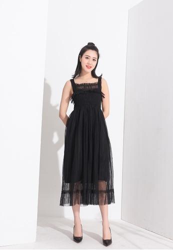 Zafiti black Square Neckline Sleeveless High Waist Mesh Dress B3C9CAAAA59F12GS_1