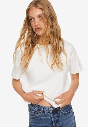Mango white Essential Cotton-Blend T-Shirt CCC5EAA2A2FA9AGS_1