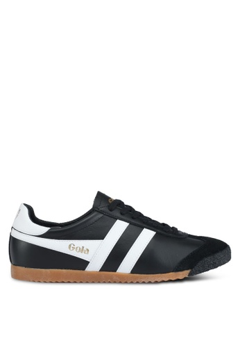 Gola black and white Harrier 50 Leather Sneakers 47C30SHF197D42GS_1