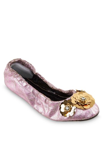 Cosmopesprit 台灣官網olitan 金屬花飾彈性娃娃鞋, 女鞋, 芭蕾平底鞋