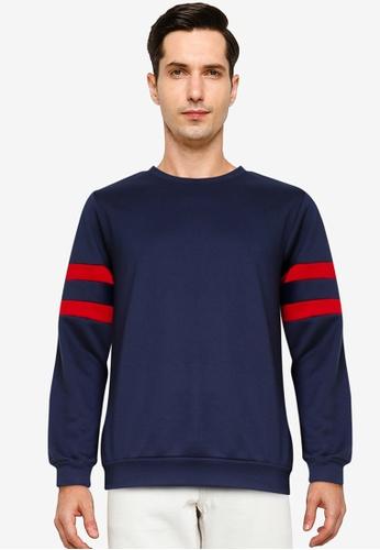 ZALORA BASICS navy Stripe Sleeve Sweatshirt 02F57AA48B424DGS_1