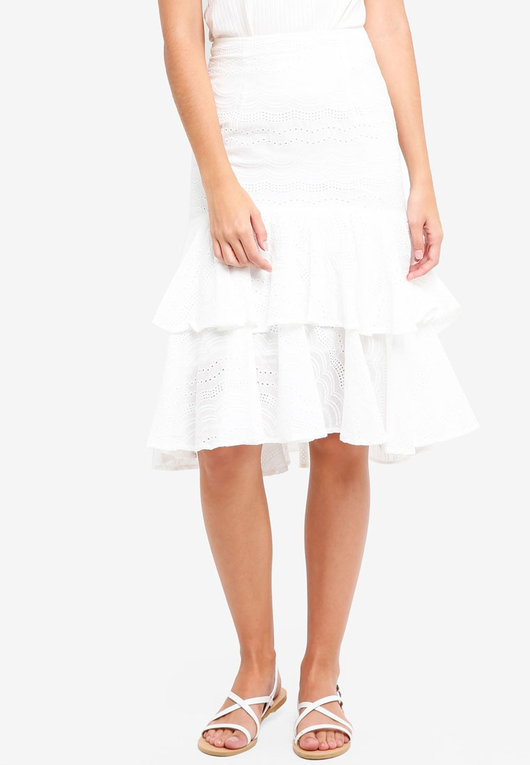 White Flounce Crochet White Skirt In MDSCollections XqARdX
